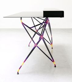 """industrialdesigners:Reed Kram and Clemens Weisshaar, console for the MULTITHREAD furniture series.""""Then a custom software created by the designers analyzes, modifies and paints the structure based on the forces passing through it. The final form and colour of every joint is a direct representation of the energy it supports.""""http://www.kramweisshaar.com/"""