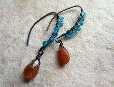 Sunstone and Apatite Earrings  Wire Wrapped by LeanneDesigns, $18.50