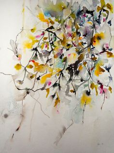 "Saatchi Online Artist: Karin Johannesson; Watercolor 2013 Painting ""Magnolia and Cherry Blossoms"""
