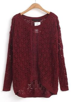 Red Long Sleeve Hollow Embroidered Sweater