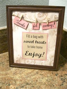 Wedding or Shower Thank You Party Favor Sign by extragevents