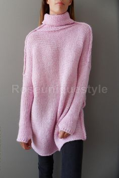 Pink Oversized Slouchy sweater. Alpaca chunky knit sweater | Etsy Slouchy Sweater, Loose Sweater, Long Sleeve Sweater, Oversized Pullover, Casual Tops, Knit Dress, Wool Blend, Knitting, Diy