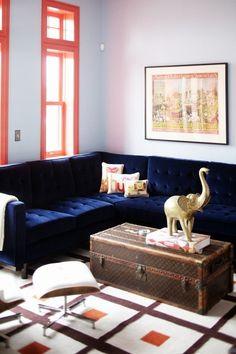 Blue mohair sofa! @Susie Vitale         Spicer + Bank: by Allison Egan: Iconic Pieces: The Louis Vuitton Vintage Trunk