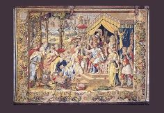 The Continence of Scipio  Giulio Romano. (after designs by) The Continence of Scipio.  Brussels, c. 1550. Tapestry. This scene shows Roman General Scipio Africanus returning a captive woman to her fiance and family.