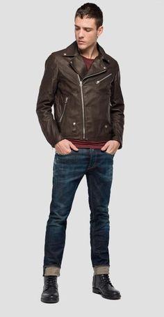 Gilet sans manches avec cordons en cuir de vachette Gilet de biker pour homme Noir noir