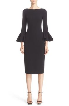 Free shipping and returns on Michael Kors Bell Sleeve Sheath Dress at Nordstrom.com. Frilled cuffs finish the long bell sleeves of a midi dress expertly tailored from stretch virgin wool and detailed with princess seams to enhance the feminine silhouette. The sheath maintains a classically chic look, from the demure bateau neckline to the V-shaped slit in the back hem.