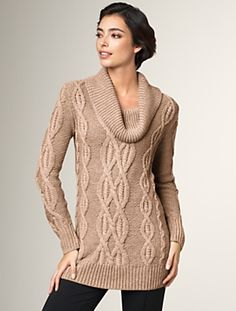 Cable cowl neck tunic sweater