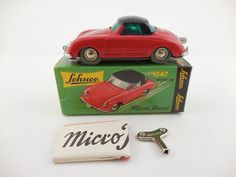 #windup #tin #vintage #antique #toy #toycollecting #diecast #collecting #collectibles Schuco Micro Racer 1047 Porsche 356 Red Black Roof…