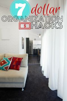 Get organized for spring with these seven organization hacks that cost a dollar (or less! Dollar Tree Hacks for organizing your home.