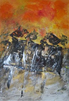 """""""SOL LEVANTE IN BICICLETTA"""" -  opera di Roberto Sironi - acrilico su tela - 70 x 100"""