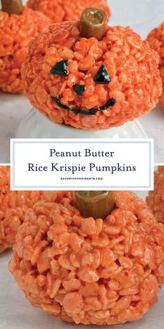 Pumpkin Rice Krispie Treats are perfect for any fall gathering or as an easy Halloween dessert! Ready in only 20 minutes, everyone will love them! #halloweenricekrispietreats #pumpkinricekrispietreats www.savoryexperiments.com