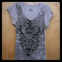 Sparkly Gray T-Shirt Gray T-Shirt with a black glitter design on the front. Excellent Condition Mudd Tops Tees - Short Sleeve