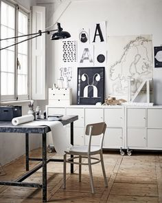 Home Office Studio Creative Workspace Inspiration 45 Ideas Home Office Vintage, Home Office Space, Office Workspace, Home Office Design, House Design, Industrial Workspace, White Industrial, Office Decor, Office Ideas