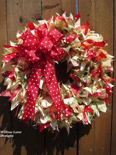 Handmade Fabric~Rag~Ribbon Wreath~Spring~Summer~MothersDay~yellow/red WillowLane