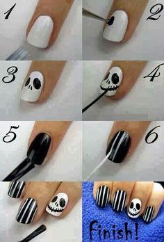 Jack Skellington nail art. #Halloween
