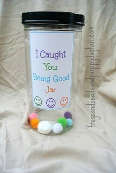 I Caught You Being Good Jar- This would be great for church, traveling, or just at home. Fill the jar up and there will be a BIG surprise at the end. For some kids it may take a few months, for others...not long at all. Even a great thing for Sunday School. They each have their jar and put one in if they are good. hmmmmm.....