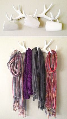 White Faux Antler Coat Hangers, Cup Hooks, Holiday Decor, and More!