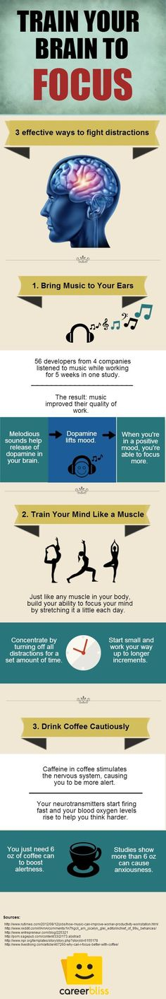 3 Ways to Train Your Brain to Focus http://www.careerbliss.com/infographics/3-ways-to-train-your-brain-to-focus-infographic/ #adhd #focus #brain