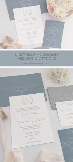 Dusty Blue and Grey Monogram Letterpress Wedding Invitations