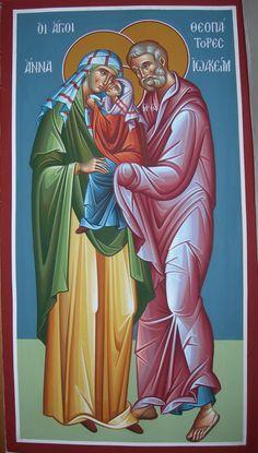 Saints Joachim and Anna with the Most Holy Theotokos Religious Pictures, Religious Icons, Religious Art, Byzantine Icons, Byzantine Art, Saint Joachim, Mary Magdalene And Jesus, Luke The Evangelist, Greek Icons