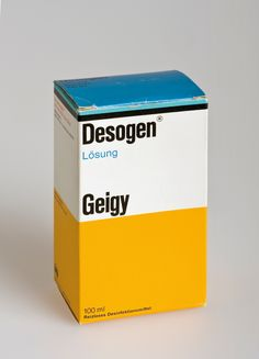 Geigy - By the 60s, the packaging for all of Geigy's medications came with the identifying stripe and color blocks. Suddenly pharmacy shelves could be read as full of Geigy products from across the store. Max Schmid did the design.