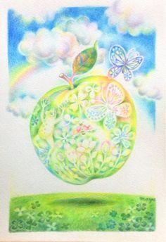 啓蟄──はちょっと前に過ぎちゃった。生き物が出てきてウキウキ〜♪りんごも浮き浮き... Pastel Drawing, Pastel Art, Whimsical, Illustration Art, Apple, Fantasy, Drawings, Artist, Blog
