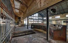 A corroding control room in an abandoned power plant in Belgium.