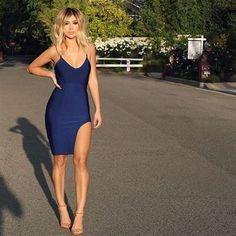 Navy Blue Slit Bandage Dress -Loved on Instagram: @ jmaybelline_