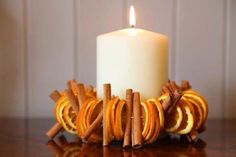 Orange and cinnamon candle ring