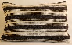 Zarin balck&cream striped kilim pillow cover by khadijaannette, $80.00