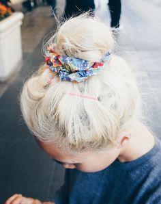 Scrunchie + top knot bun.