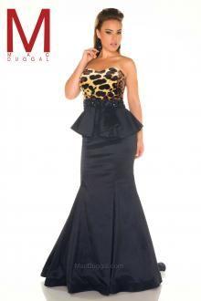 Strapless, animal print, black, peplum, floor length gown.  Fabulouss Collection | Mac Duggal.  https://www.macduggal.com/Prom-Plus-Size/Fabulouss