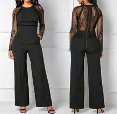 Lace Panel Black Zipper Back Pocket Wide Leg Jumpsuit, free shipping worldwide at www.rosewe.com-womens fashion online store. high quality and better service, check it out.