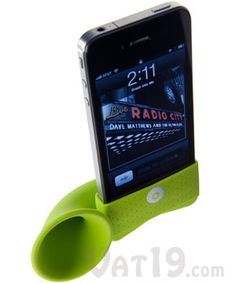 iPhone Horn Stand Acoustic Amplifier  Double your iPhone's volume without any external power.  $24.99 - yesss