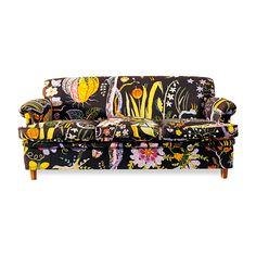 Svenskt Tenn sofa in Hawaii fabric. Designer: Josef Frank (Austrian) California Home & Design Magazine/Summer 2013 Funky Furniture, Vintage Furniture, Home Furniture, Furniture Design, Oriental Furniture, Vintage Sofa, Funky Chairs, Cool Couches, Josef Frank