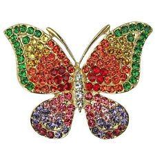 Kirks Folly Best Friends Rainbow Butterfly Pin Pendant Necklace Goldtone
