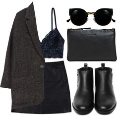 A fashion look from November 2013 featuring oversized jacket, black velvet skirt and bralette bras. Browse and shop related looks.