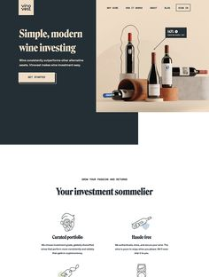 Wine consistently outperforms other alternative assets. Vinovest makes wine investment easy. Vintage Web Design, Modern Web Design, Flat Design, Landing Page Inspiration, Website Design Inspiration, Web Design Mobile, Best Landing Pages, Wine Brands, Ui Web