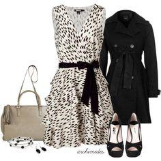 DKNY Beige and black belted silk dress