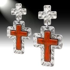 Stone cross earrings from www.countrysoulbling.com