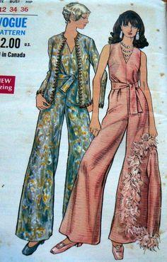 LOVELY VTG 1960s JUMPSUIT & JACKET VOGUE Sewing Pattern 14/34