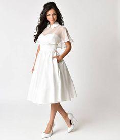 Unique Vintage 1940s Style White Brushed Cotton Luna Swing Dress & Mesh Capelet