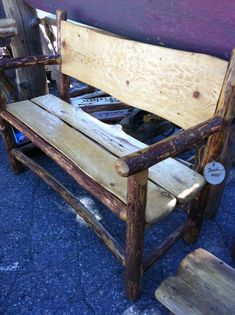 Log Furniture - Custom Bench - Brent Taylor, artist - Cabin Creek Log Furniture, Mammoth lakes, Bishop area and this Rustic Outdoor Furniture, Cabin Furniture, Wooden Furniture, Log Decor, Rustic Decor, Diy Home Decor, Green Woodworking, Mammoth Lakes, Wood Design