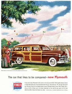 Take the family to the circus in the new Plymouth - vintage 1940s