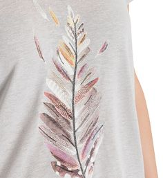 T-shirt droit à teneur lin motif plume paillettes