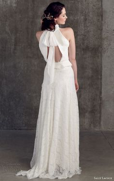 sally lacock wedding dresses 2014 bridal separates collection juniper halter neck top mace lace a line skirt keyhole back view