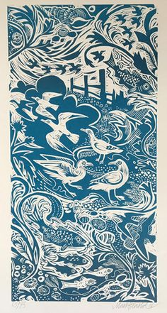 'Shoreline' by Mark Hearld (linocut)