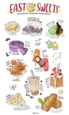 An Illustrated Guide to Asian Desserts in Seattle Colorful illustrations of Asian desserts at Seattle restaurants. Desserts Drawing, Seattle Restaurants, Recipe Drawing, Cute Food Art, Dessert Illustration, Cute Food Drawings, Food Doodles, Asian Desserts, Food Painting