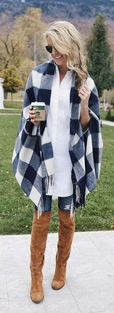 Ponchos make the perfect compliment to a thigh high boots outfit!