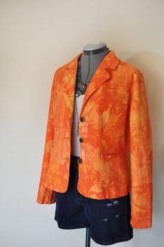 Get noticed with this Upcycled Dyed Denim Blazer!